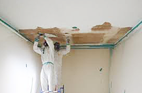 Photo of workers removing insulation from ceiling in home